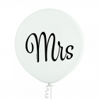 """Mrs"" baloni kāzām 1 gab. 24""/60 cm lateksa balons Pastelis: 002 Balts. Druka: 1 Krāsa(s) / 2 Puses"