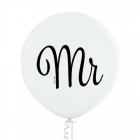"""Mr"" baloni kāzām 1 gab. 24""/60 cm lateksa balons Pastelis: 002 Balts. Druka: 1 Krāsa(s) / 2 Puses"