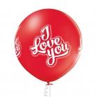 I Love You - 60 cm. apaļš balons, sarkans, 1 gab., apdruka 1 krāsā / 4 pusēs