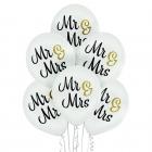 """""""Mr & Mrs"""" – 30  cm. kāzu baloni,  6 gab., pasteļā balti, apdruka 2 krāsās / 2 pusēs"""