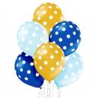 Punktaini baloni – 30 cm. baloni, 6 gab., perlamutra krāsas puišiem – zelta, zila, gaiši zila.
