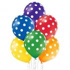 Punktaini baloni - 30 cm. baloni, 6 gab., standarta krāsas – zaļš, dzeltens, oranžs, sarkans, violets, zils.