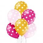 Punktaini baloni - 30 cm. baloni, 6 gab.,  perlamutra krāsas meitenēm – zelta, fuksija, rozā.