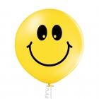 Smaidiņi - 60 cm. apaļš balons, dzeltens, 1 gab., apdruka 1 krāsā / 2 pusēs