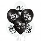 Vislabākais Boss – 30 cm. baloni 6 gab., pastelis: melns un balts,  apdruka 1 krāsā / 2 pusēs