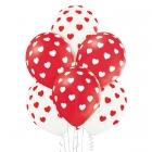 Sirsniņas – 30 cm. baloni 6 gab., pastelis: sarkans un balts; apdruka 1 krāsā / 5 pusēs.