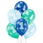 1. dzimšanas diena – 30 cm. baloni 6 gab., pastelis: gaišī zils, zaļš, košī zils; apdruka 1 krāsā / 4 pusēs