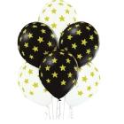 Zvaigznītes – 30 cm. baloni 6 gab., pastelis:melns un balts; apdruka 1 krāsā / 5 pusēs.