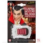 Vampīra zobi un 4 kapsulas ar asinīm