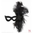 Maska ar sārtām spalvām, melna no velura
