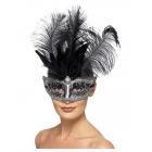 Venēcijas maska Colombina, pelēka, ar melnām šlefām