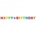 Burtu baneris Happy Birthday varavīksnes krāsās, 230 cm