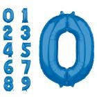 """Ciparu """"0"""" - """"9"""" formas folija baloni koši zila krāsa, izmērs 28cm x 66cm"""