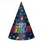 """Cepurītes """"Happy Birthay - krāsains konfeti"""", papīrs, 12 gab."""