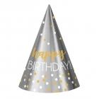 "Cepurītes ""Happy Birthay – zelta un sudraba konfeti"", folija/papīrs, 12 gab."