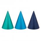 Cepurītes zilās un zaļās toņos, folija/papīrs, 12 gab