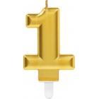 """Tortes svece cipars """"1"""", 9.3 cm, zelta"""