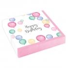 """Salvetes """"Dzimšanas diena pasteļtoņos"""" 25 x 25 cm., 20 gab"""