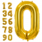 """Шар цифра """"0"""" - """"9""""  золотой,  высота 86 см, из фольги"""