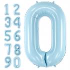 """Ciparu """"0"""" - """"9"""" formas folija baloni gaiši zila krāsa, izmērs 86cm"""