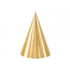 Svētku cepurītes zelta krasa, 11 x 16 cm, 6 gab.