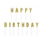 """Tortes sveces """"Happy Birthaday"""",  burti uz kociņiem 2,5 cm x 13 gab"""