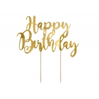 "Tortes toperis ""Happy Bithday"", zelts, 22,5 cm, laminēts papīrs"