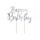 "Tortes toperis ""Happy Bithday"", sudrabs, 22,5 cm, laminēts papīrs"