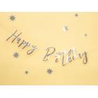 """Burtu baneris """"Happy Bithday"""", sudrabs, 16x62 cm, laminēts papīrs"""
