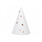 Svētku cepurītes ar rozā zelta punktiņiem,11 x 16 cm, 6 gab.