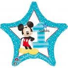 """Folijas balons """"1. dzimšanas diena – peļuks Mikijs"""", 45 cm zvaigznes formas, piepūšams ar hēliju"""