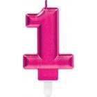 """Svece cipars """"1"""", koši rozā, 9,3 cm"""