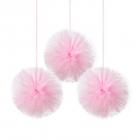 Tilla pomponi, maigi rozā uzkarinātas dekorācijas, 30,5 cm, 3 gab.