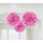 Zīdpapīra bumbas-pomponi, koši rozā uzkarinātas dekorācijas, 41 cm, 3 gab.
