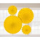 Dekoratīvi papīra vēdekļi, dzelteni ar spīdumu, komplektā 2x20cm, 1x30cm, 1x41cm