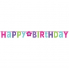 Burtu baneris Happy Birthday, rozā ar puķīti  3.35m x 31.7cm