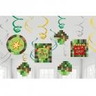12 spirāles formas piekaramas dekorācijas Minecraft/TNT, 13cm  x 60cm, folija/papīrs