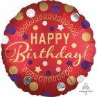Folijas hēlija balons Happy Birthday Party, sarkans ar zeltu, 43 cm