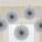 """Piekaramās papīra dekorācijas """"Vēdekļi"""", pelēki (sudrabi), 5 gab., diam. 15 cm"""