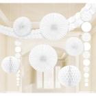 Papīra dekorāciju komplekts balta krāsa. 9 priekšmeti