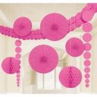 Papīra dekorāciju komplekts koši rozā. 9 priekšmeti