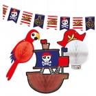 """Dekorāciju komplekts """"Pirātu karte"""" – 1 x karodziņu virtene un 3 x šūnpapīra bumbas"""