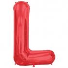 """Burtu balons sarkanās krāsā """"L"""",  87cm, folijas figūra paredzēta piepūšanai ar hēliju"""