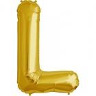 """Burtu balons zelta krāsā  """"L"""",  87cm, folijas figūra paredzēta piepūšanai ar hēliju"""