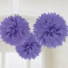 POM PON - zīdpapīra piekaramās dekorācijas, komplektā 3 gab., diam. 41 cm, violetā krāsā.