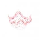 Dekoratīva plastmasas bļoda augļiem, konfektēm, cepumiem. Caursīdīga ar gaiši rozā zīmējumu,13 x 13 x 7 mm