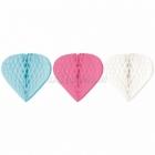 Sirds formas piekaramās dekorācijas, 3 gab. 30/25/20cm. Zīdpapīrs baltā, rozā, turkīzā krāsā