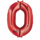 """Ciparu folijas balons sarkana krāsa """"0"""",  87cm, folijas figūra paredzēta piepūšanai ar hēliju"""