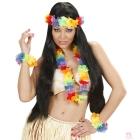Havajiešu komplekts varavīksnes krāsās - virtene, kronis un divas aproces