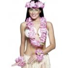 Havaju ziedu virteņu komplekts, rozā. Komplektā ietilpst galvas, kakla un roku virtenes